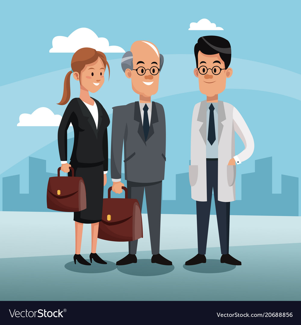 Doctor with business teamwork