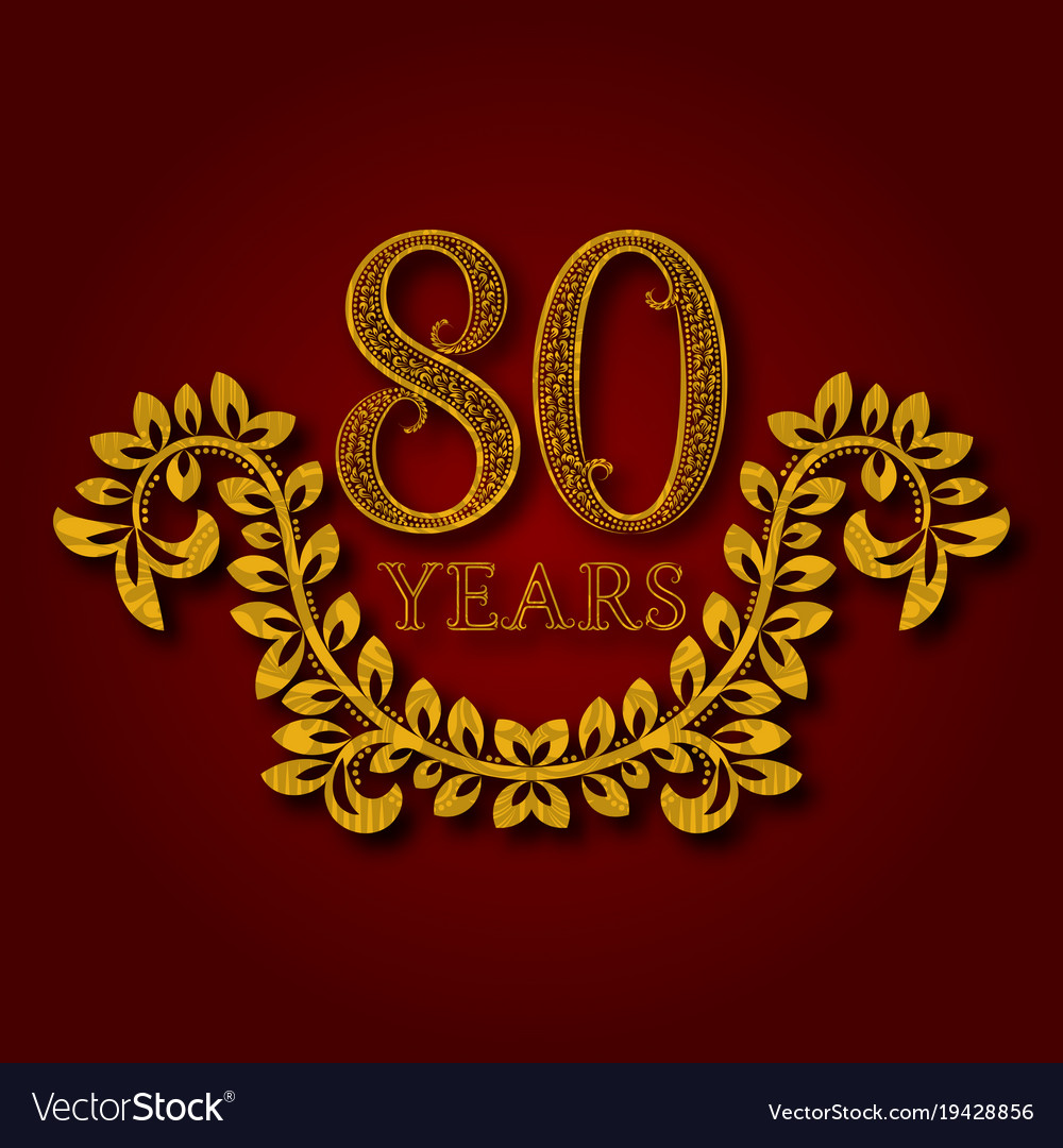 Eighty years anniversary celebration patterned