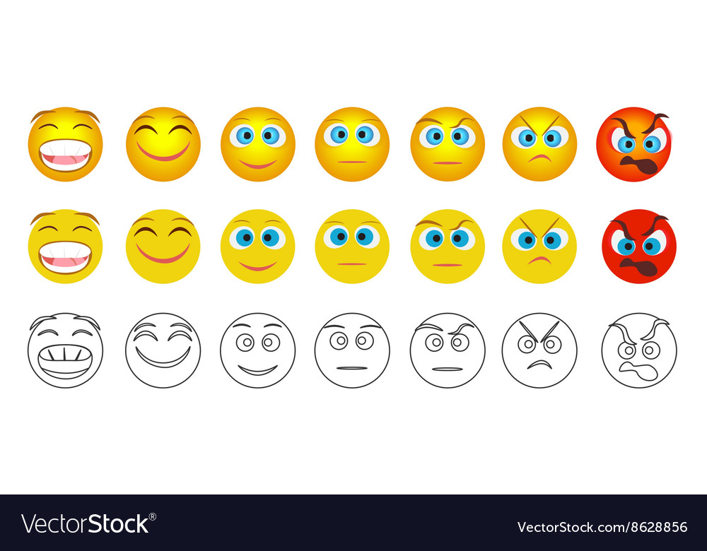 From negative to positive emoji emotions isolated