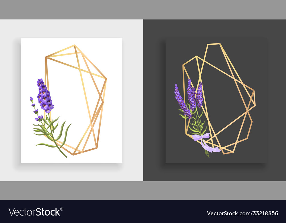Geometric frame polyhedron abstract gold floral