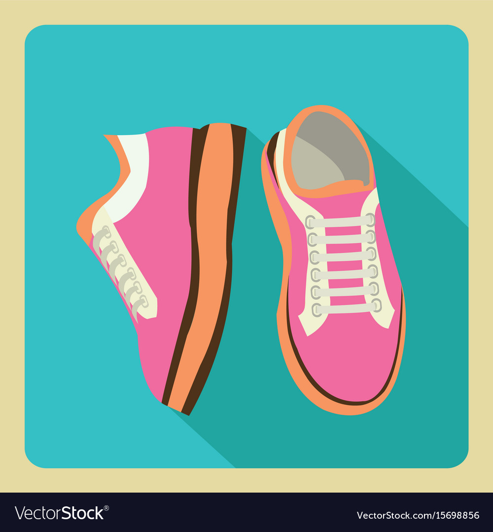 Gym sneakers on side and front view over isolated vector image