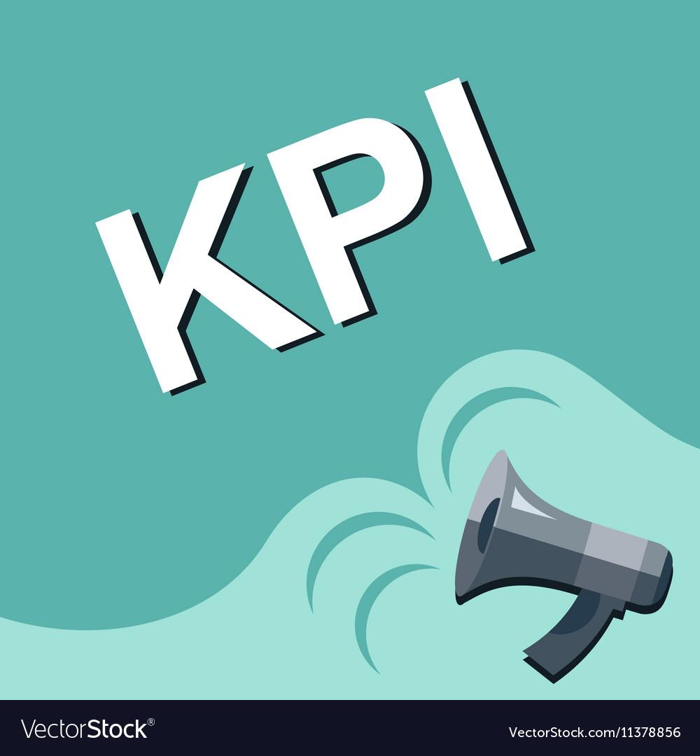 Megaphone with KPI - key performance indicator vector image
