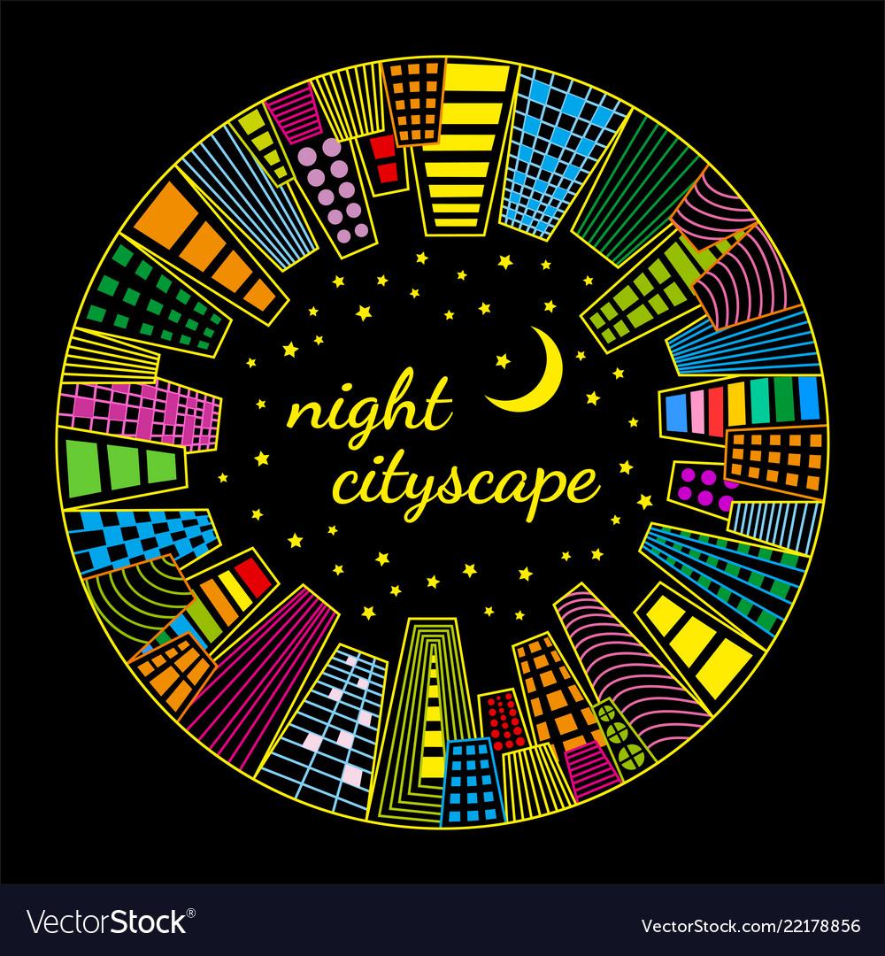 Night cityscape round template