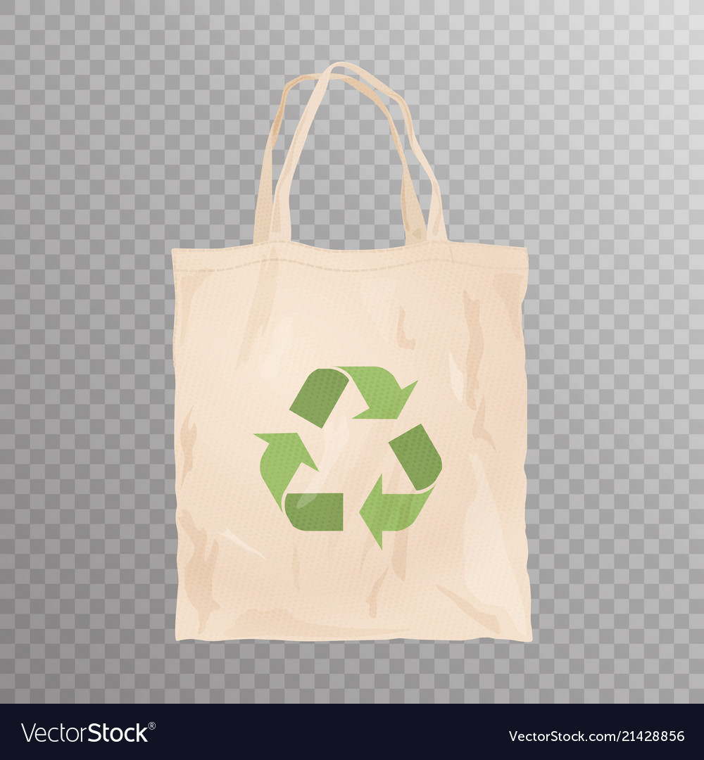 Reusable Cloth Bag With Recycle Emblem Vector Image