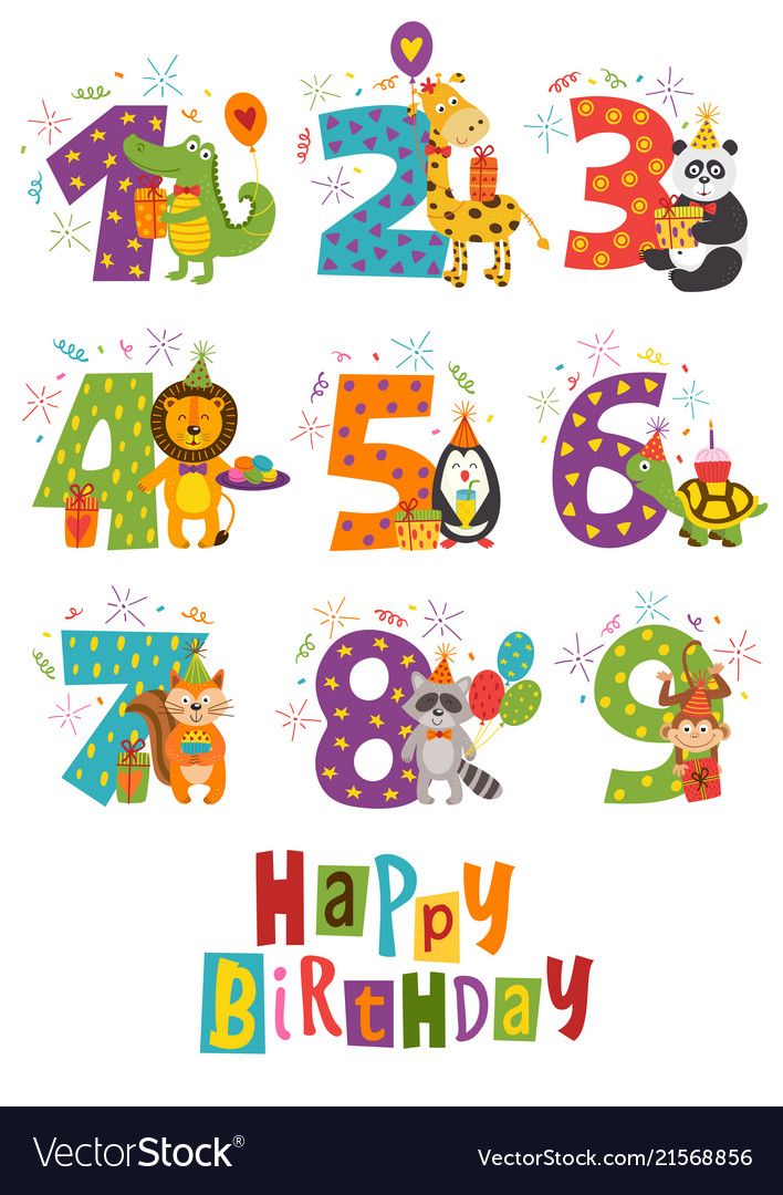 Set birthday numbers with funny animals vector
