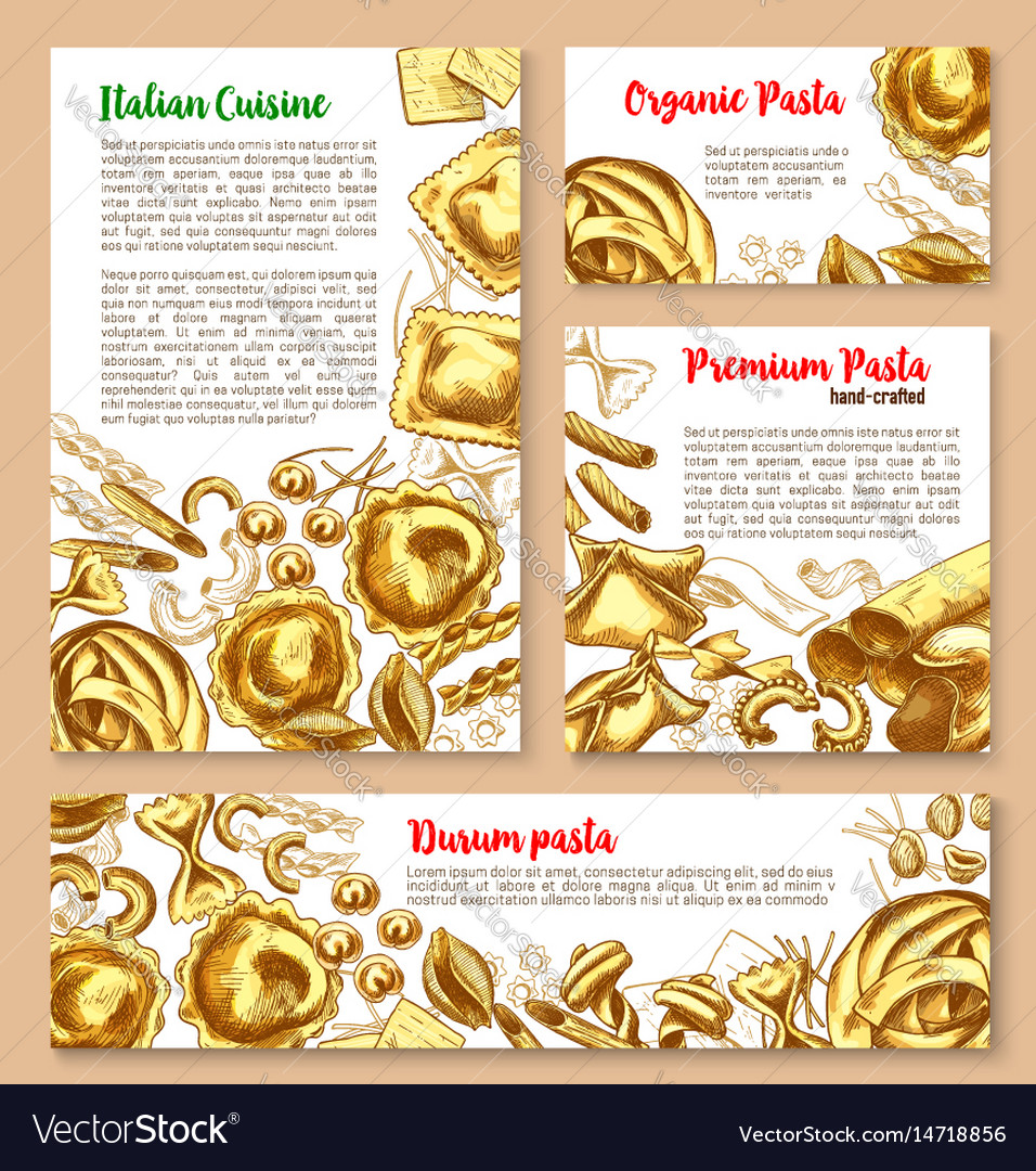 Templates set for pasta of italian cuisine vector image