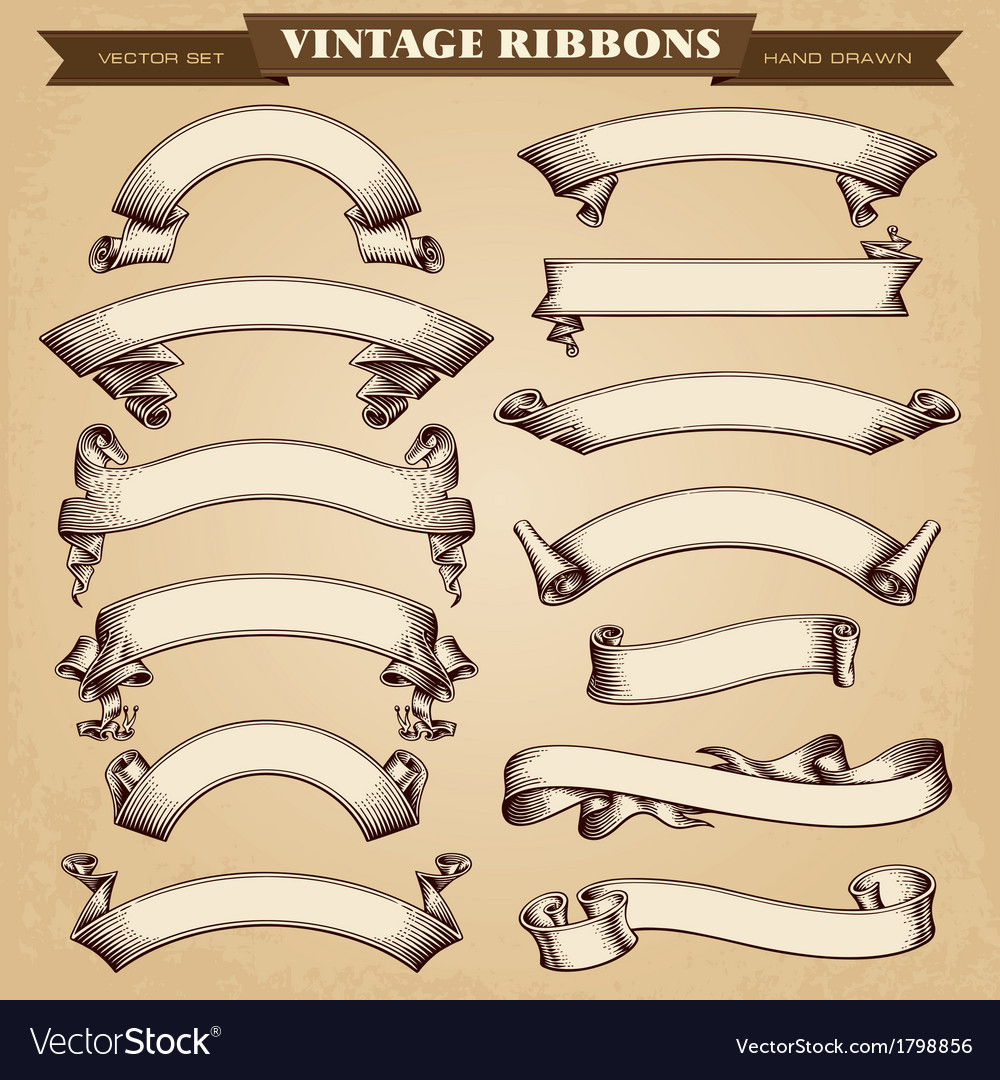 Vintage Ribbons Banners vector image