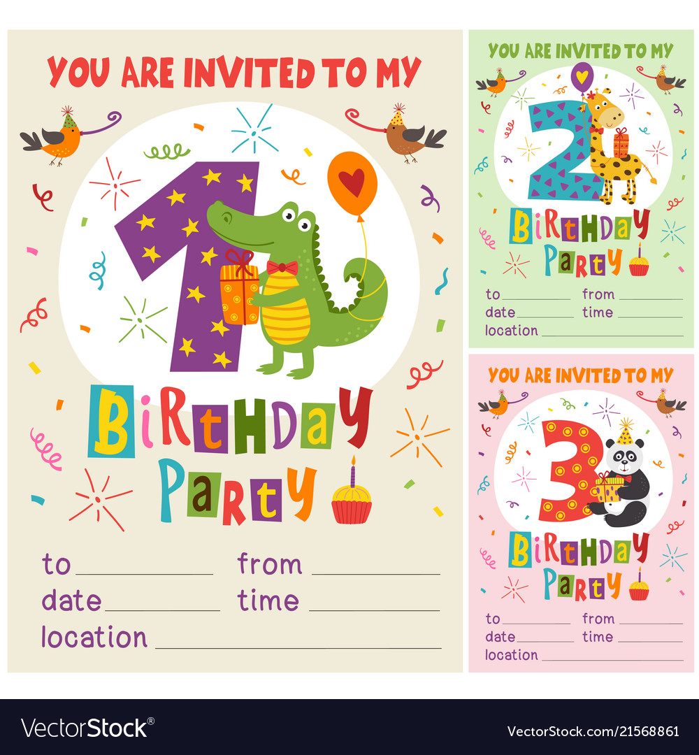 Birthday invitation card template with animas