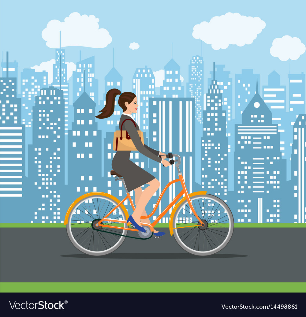 Business lady riding on a cruiser bicycle