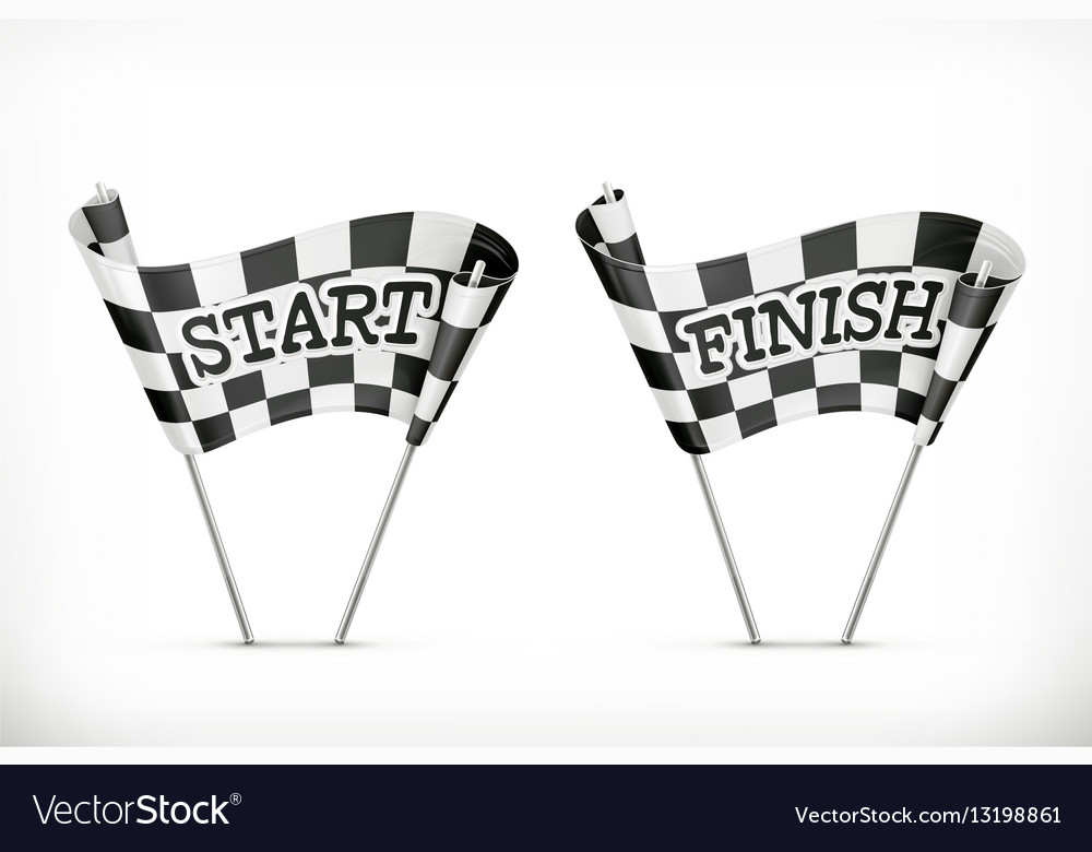 Checkered flag start and finish icon vector image