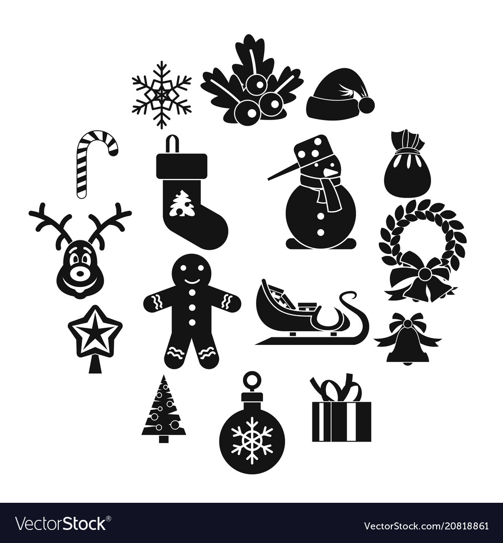 Christmas icons set simple style
