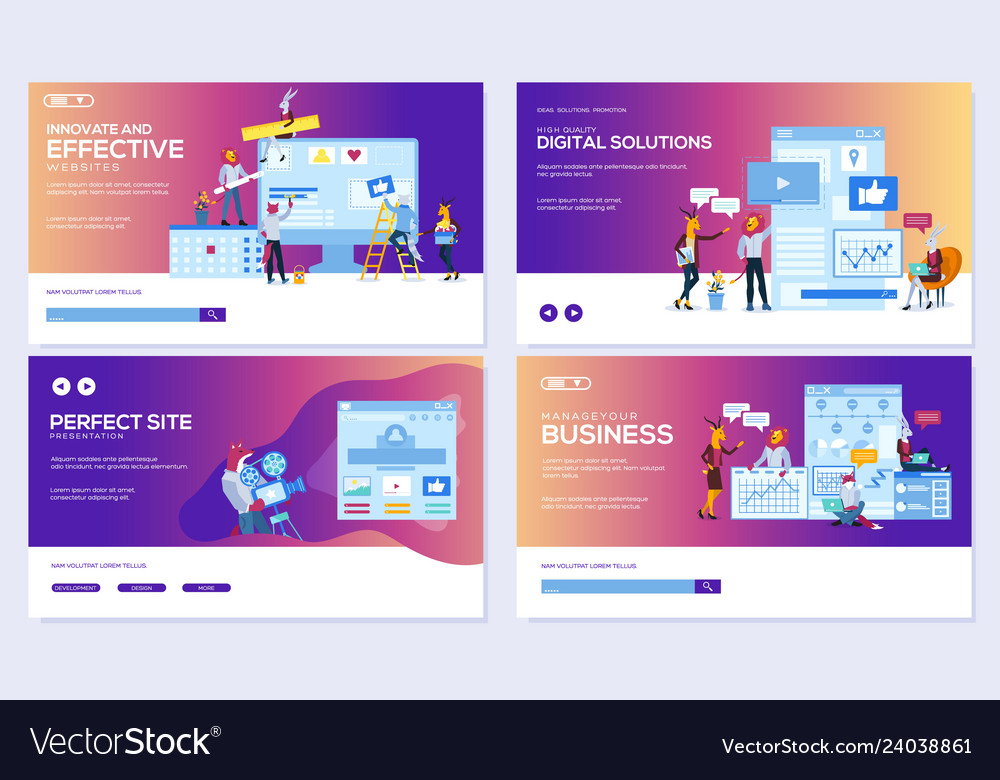 Modern flat set of effective website designs