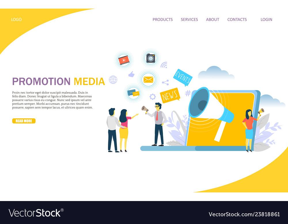 Promotion media website landing page design
