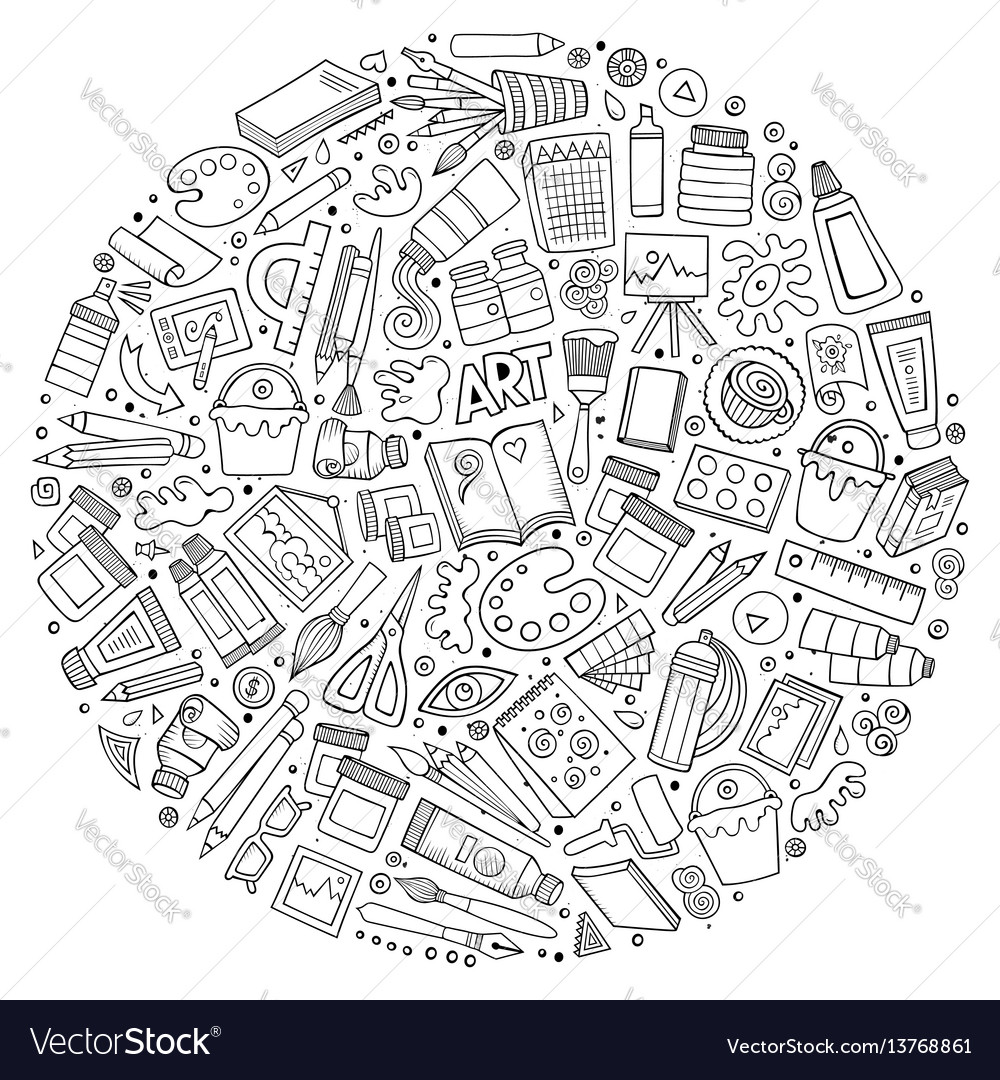 Set of art cartoon doodle objects vector image