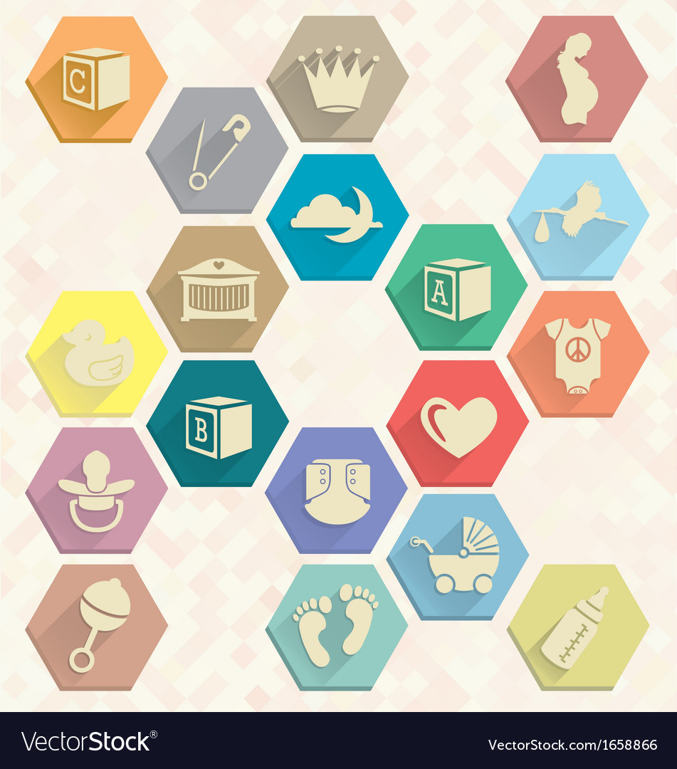 Baby Icons in Hexagons