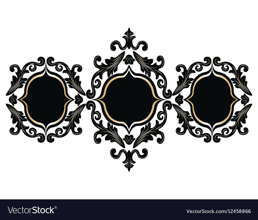 Baroque Rococo frame set decor vector image