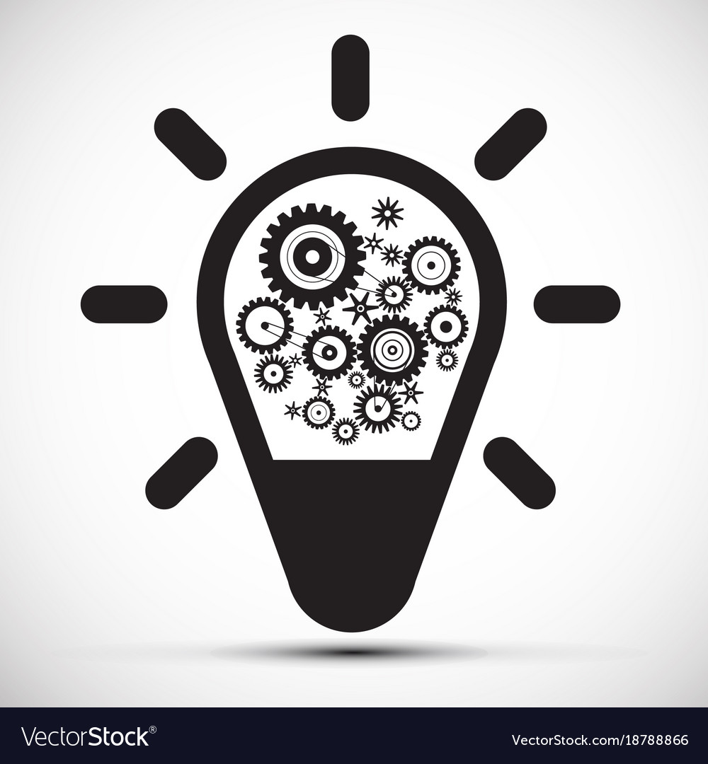 Bulb with cogs - gears icon