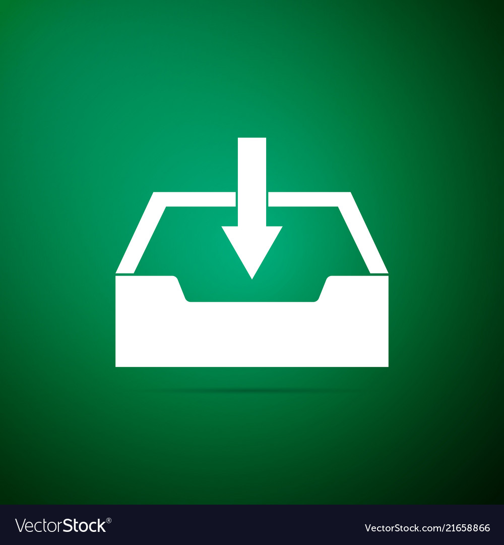 Download inbox icon isolated on green background