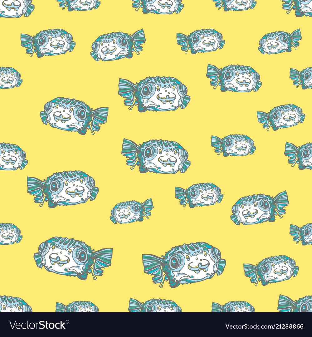 Green fish seamless pattern