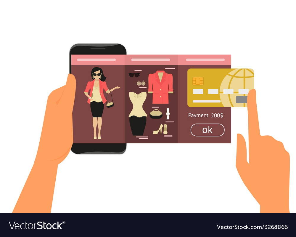 Mobile app for fashion shopping vector image