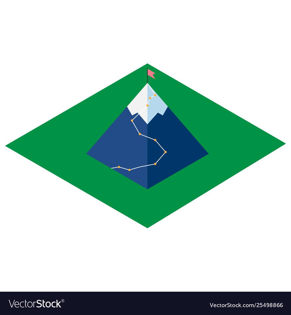 Mountain isometric icon with flag
