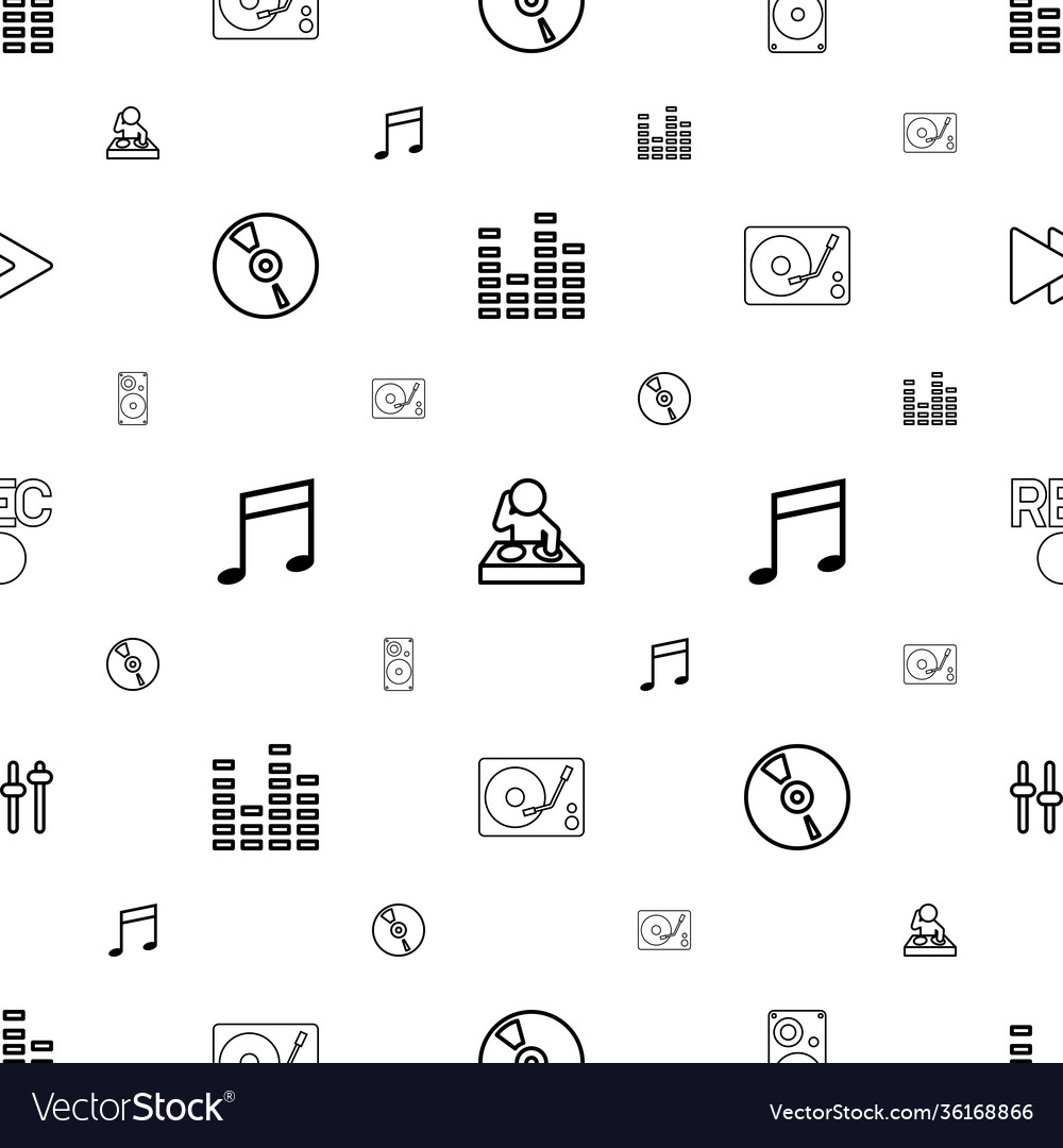 Music icons pattern seamless white background