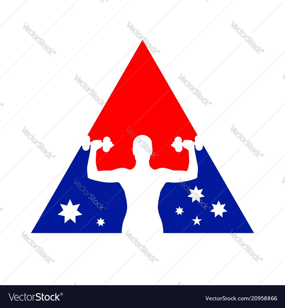 National flag fitness gym symbol logo design
