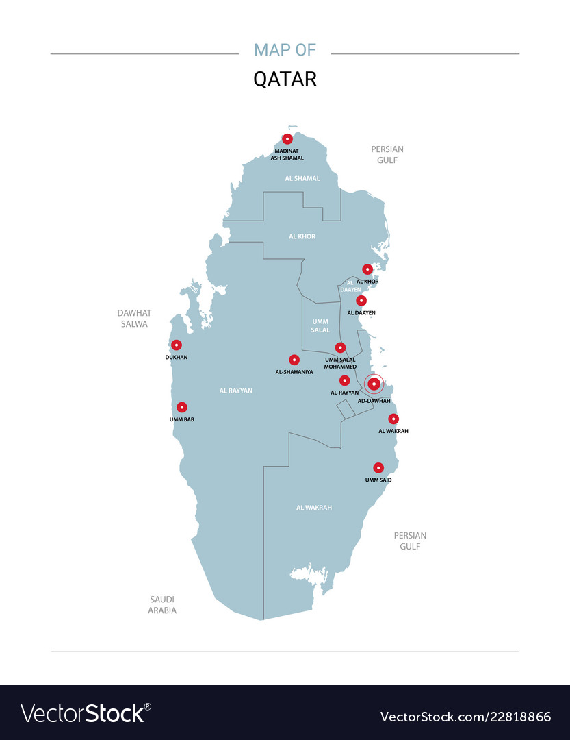 Qatar map with red pin