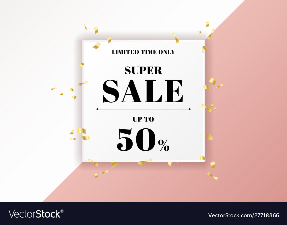 Sale banner pink background and gold ribbon