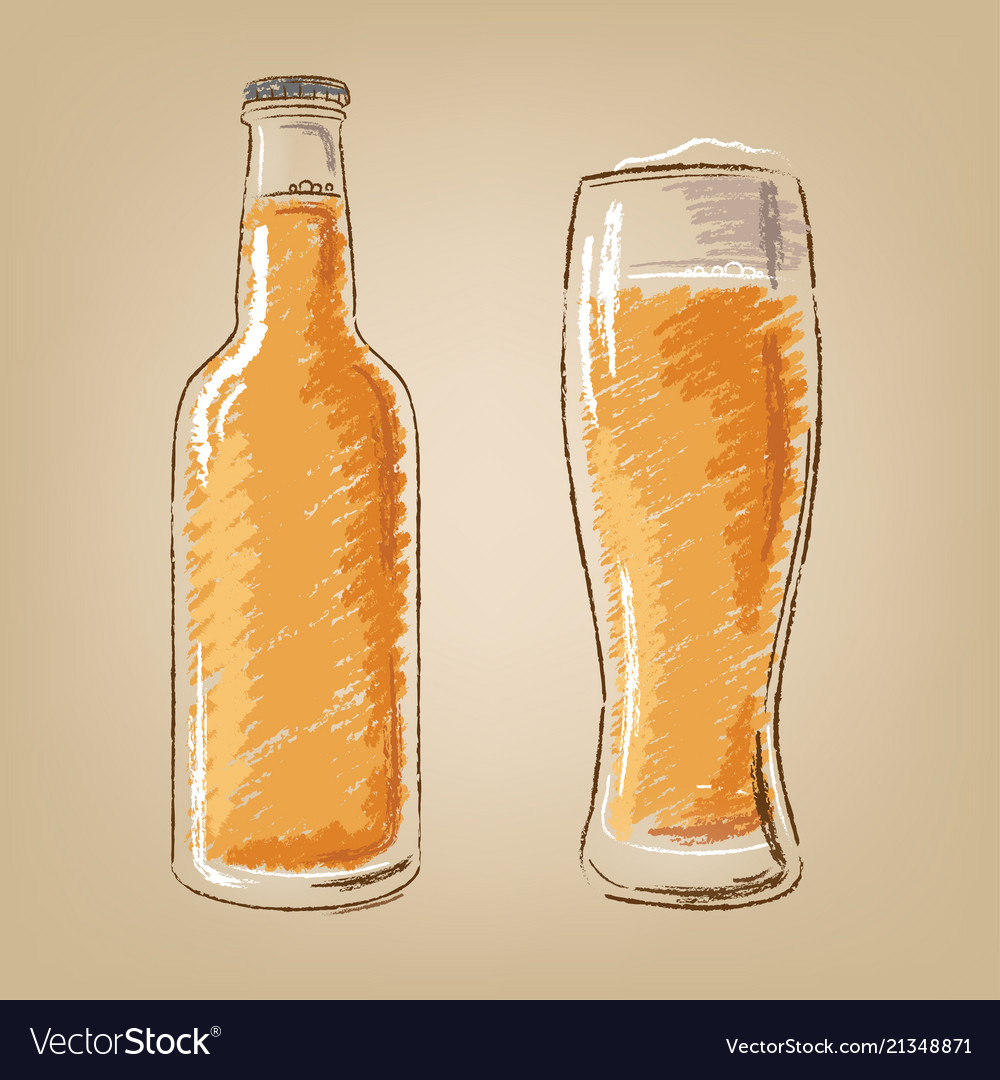Beer bottle and glass isolated icons set
