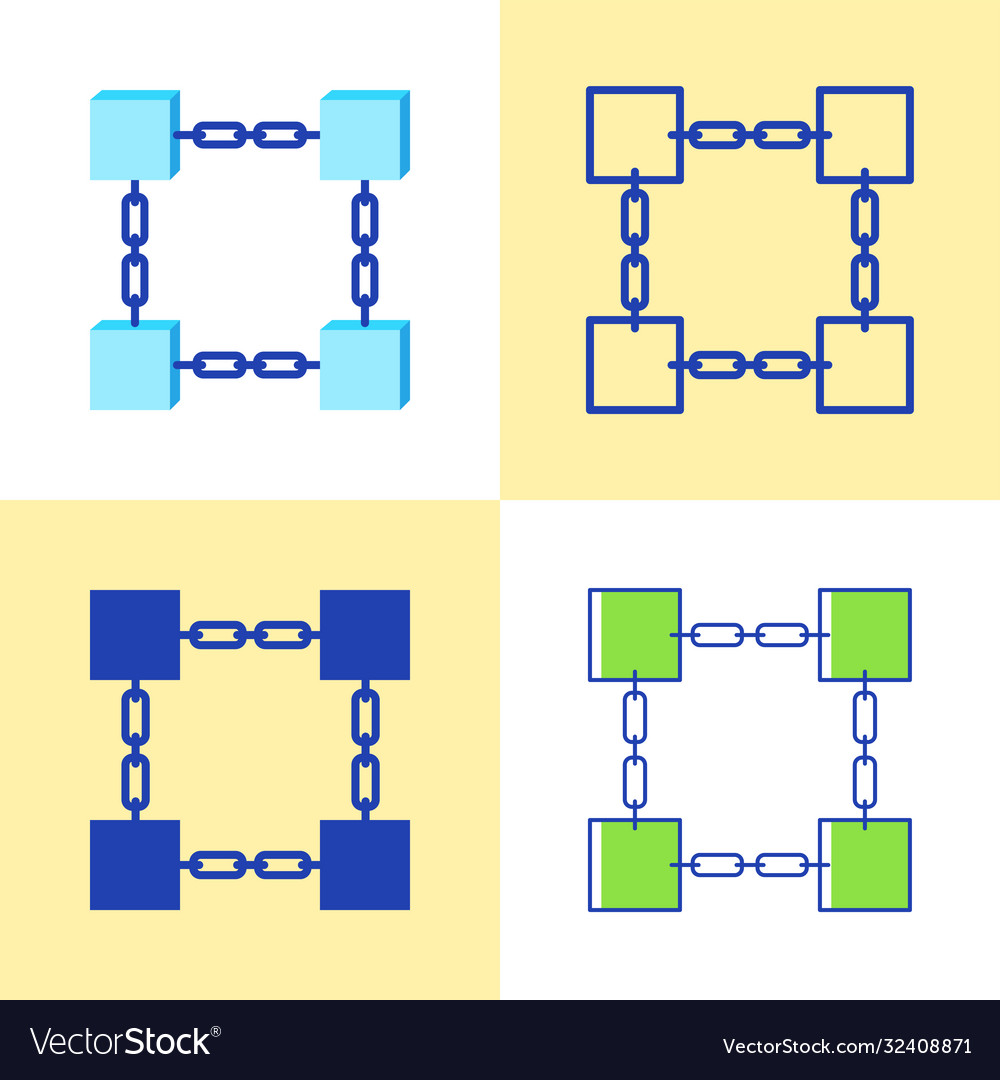 Blockchain symbol icon set in flat and line style