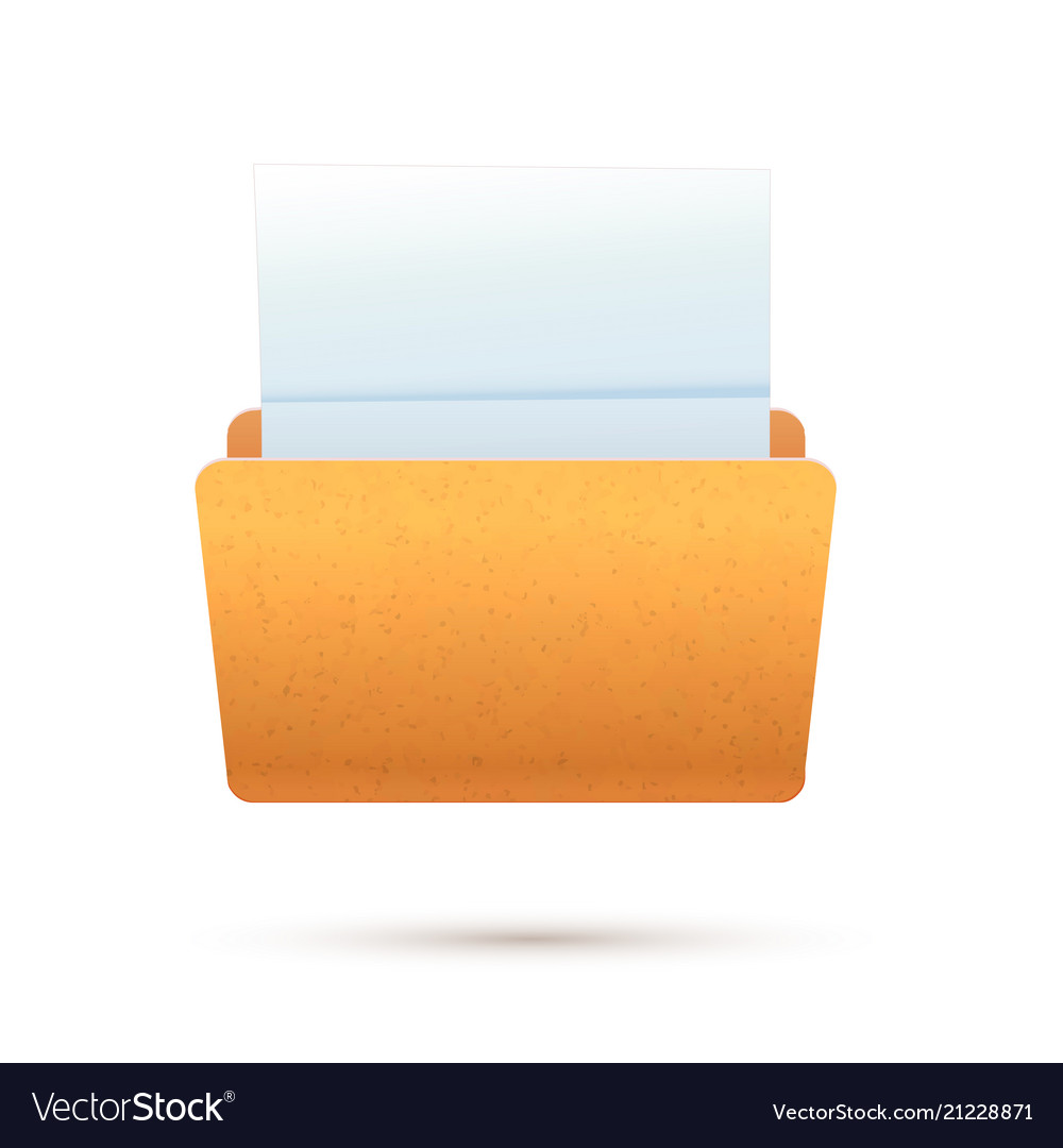 Bright yellow realistic open folder with paper
