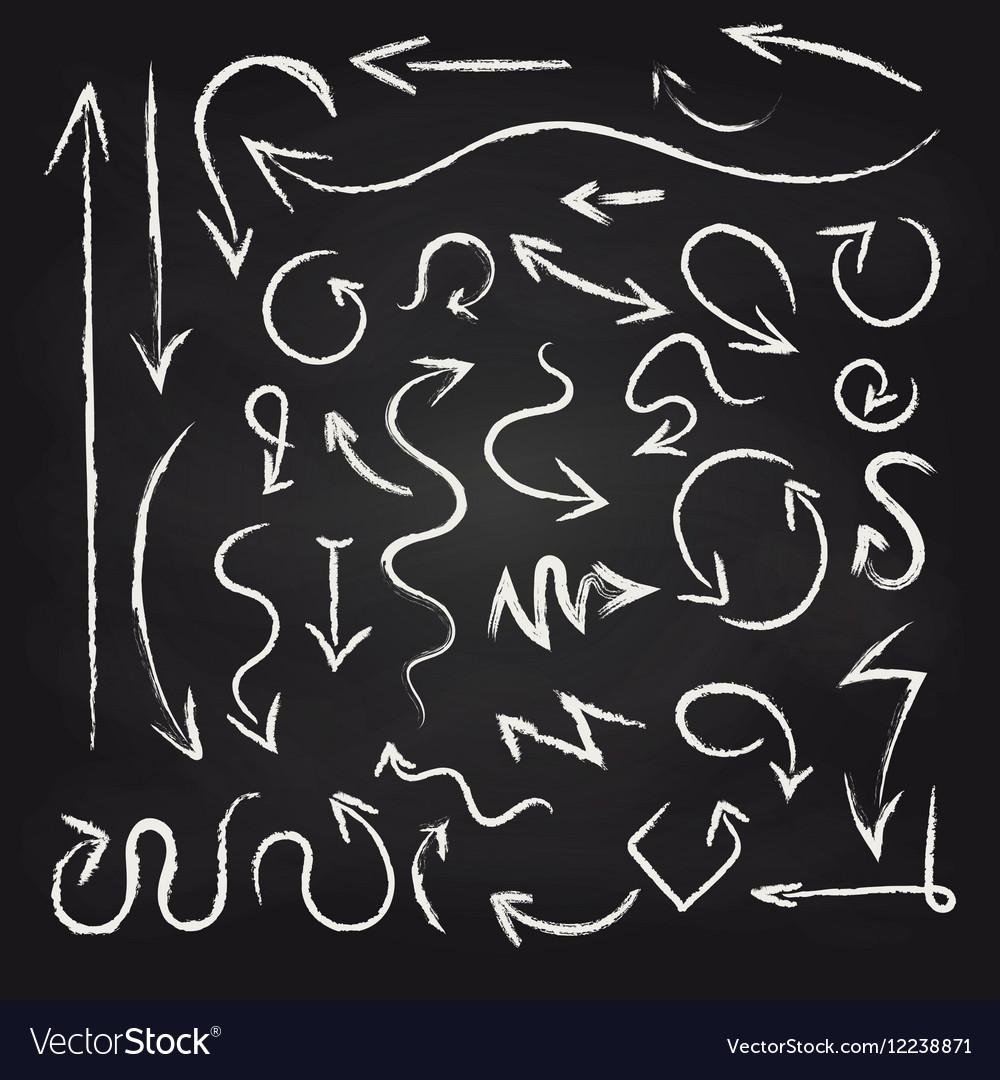 Chalk arrows set on blackboard background