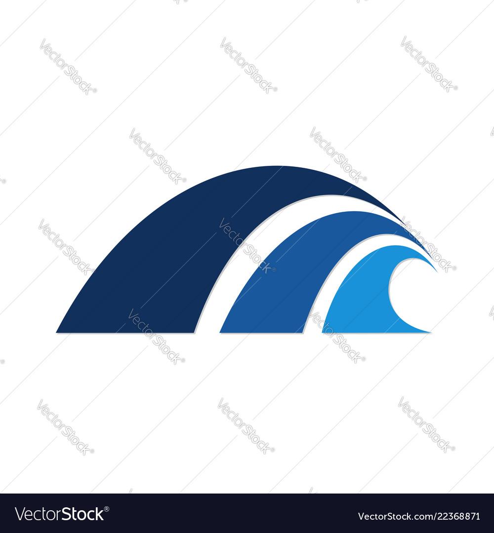 Dark light blue color water wave logo template