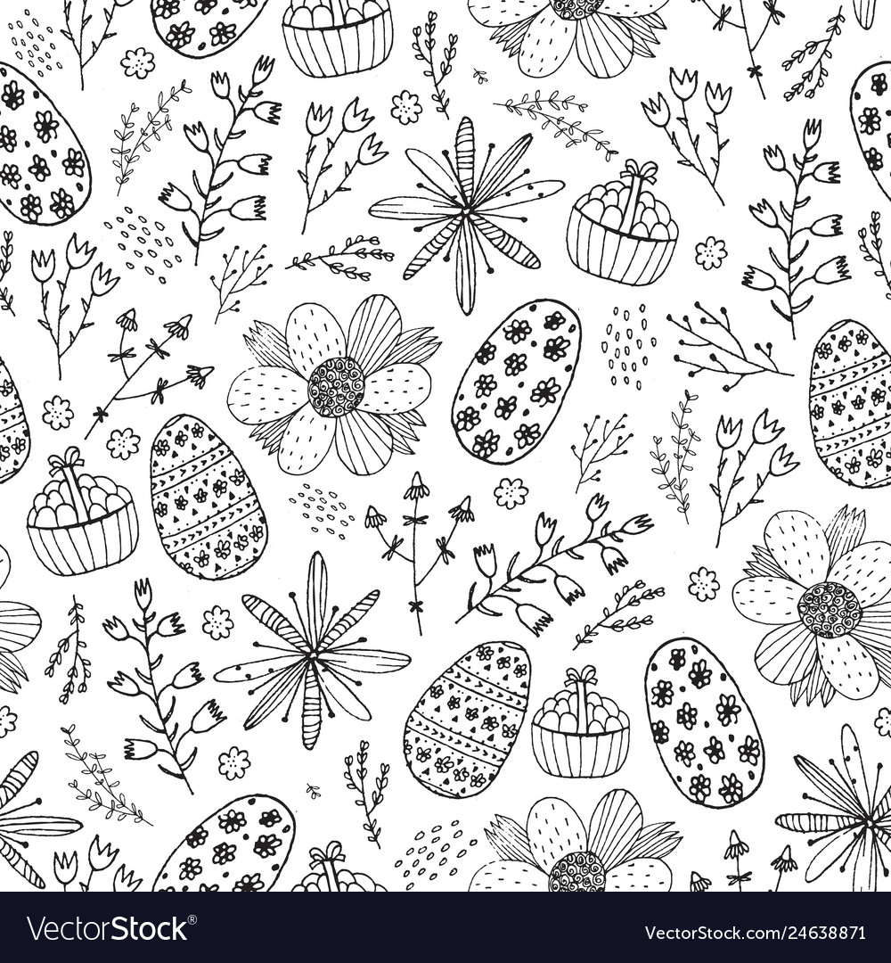 Easter seamless doodle pattern hand drawn