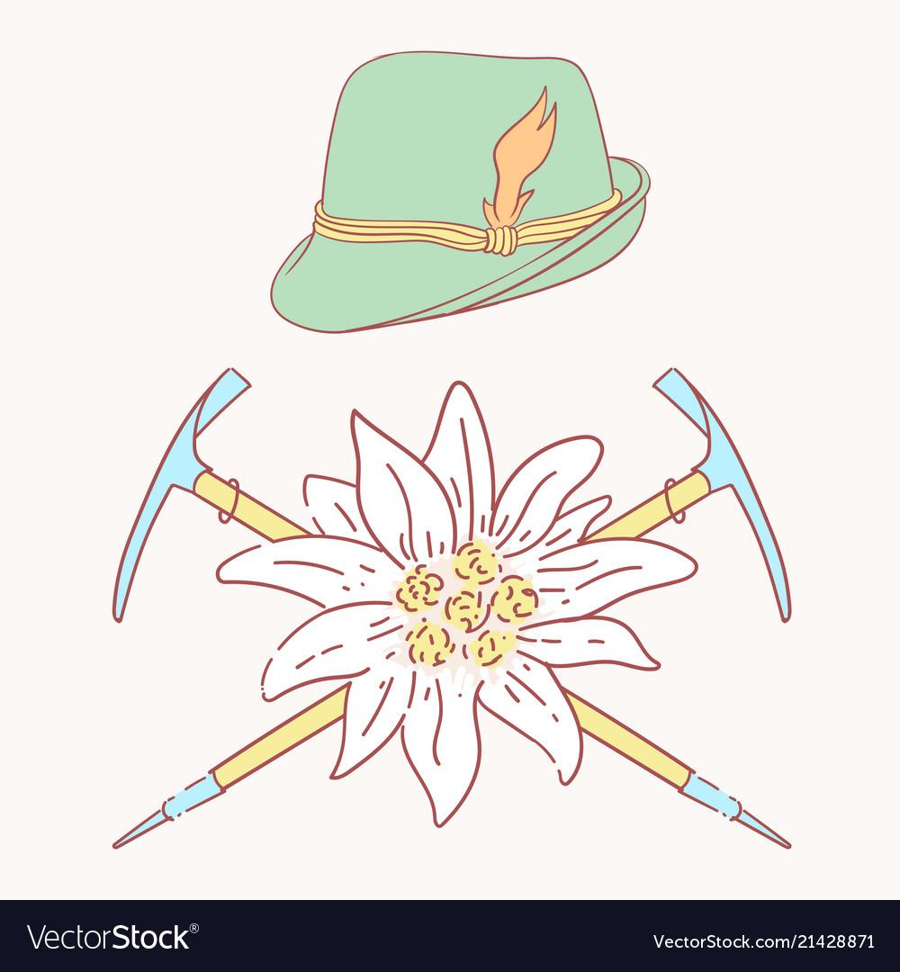 Edelweiss tyrolean hat alpenstock flower symbol