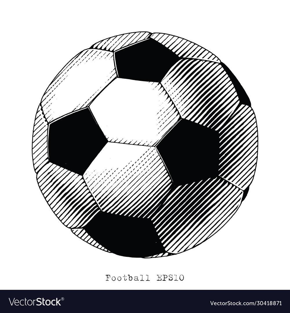 Football hand draw vinatge style black and white