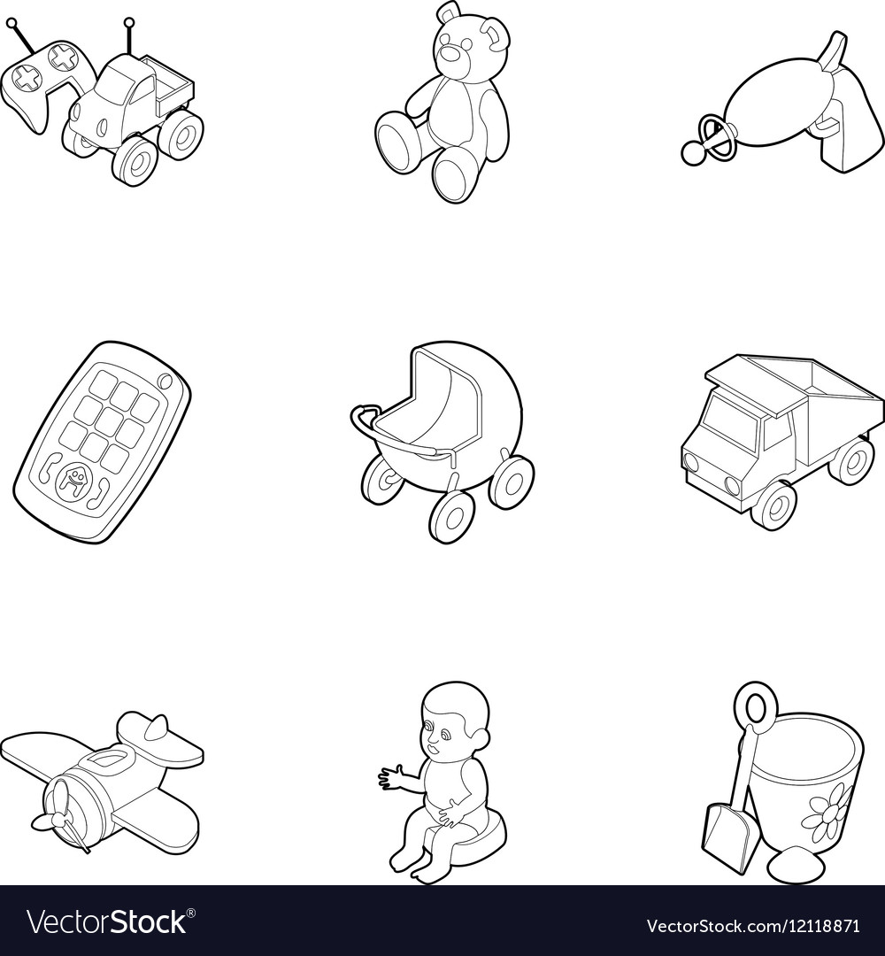 Fun games for kids icons set outline style