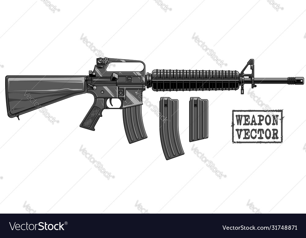 Graphic silhouette modern automatic american rifle