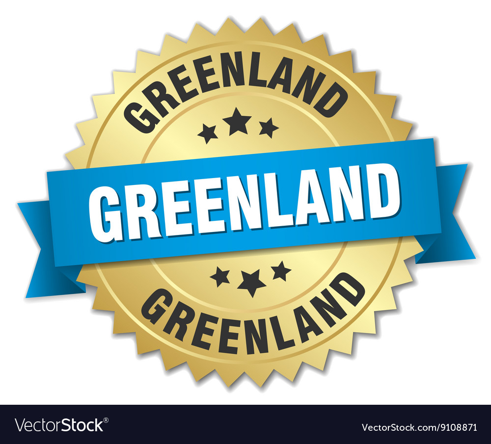 Greenland round golden badge with blue ribbon vector image