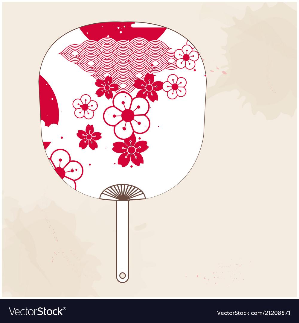 Japanese fan red white sakura image