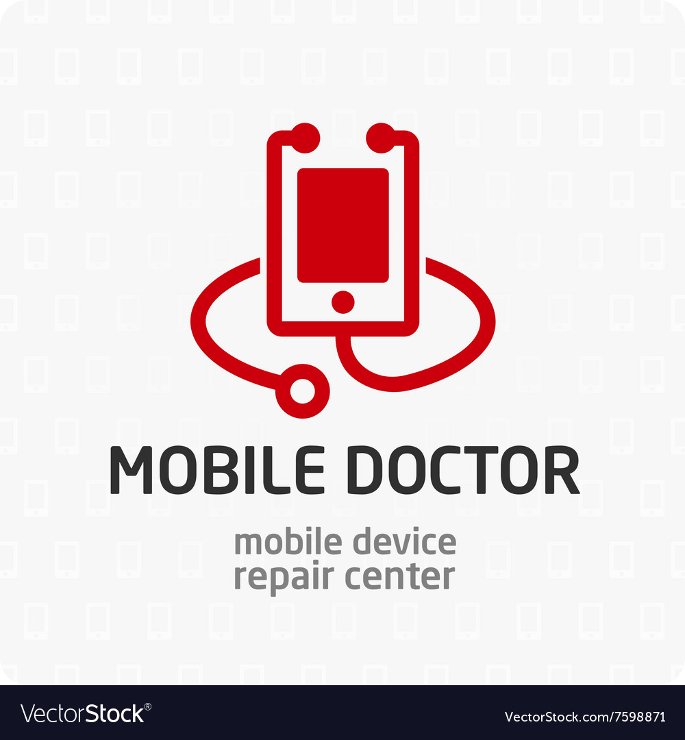 Mobile doctor logo template vector image