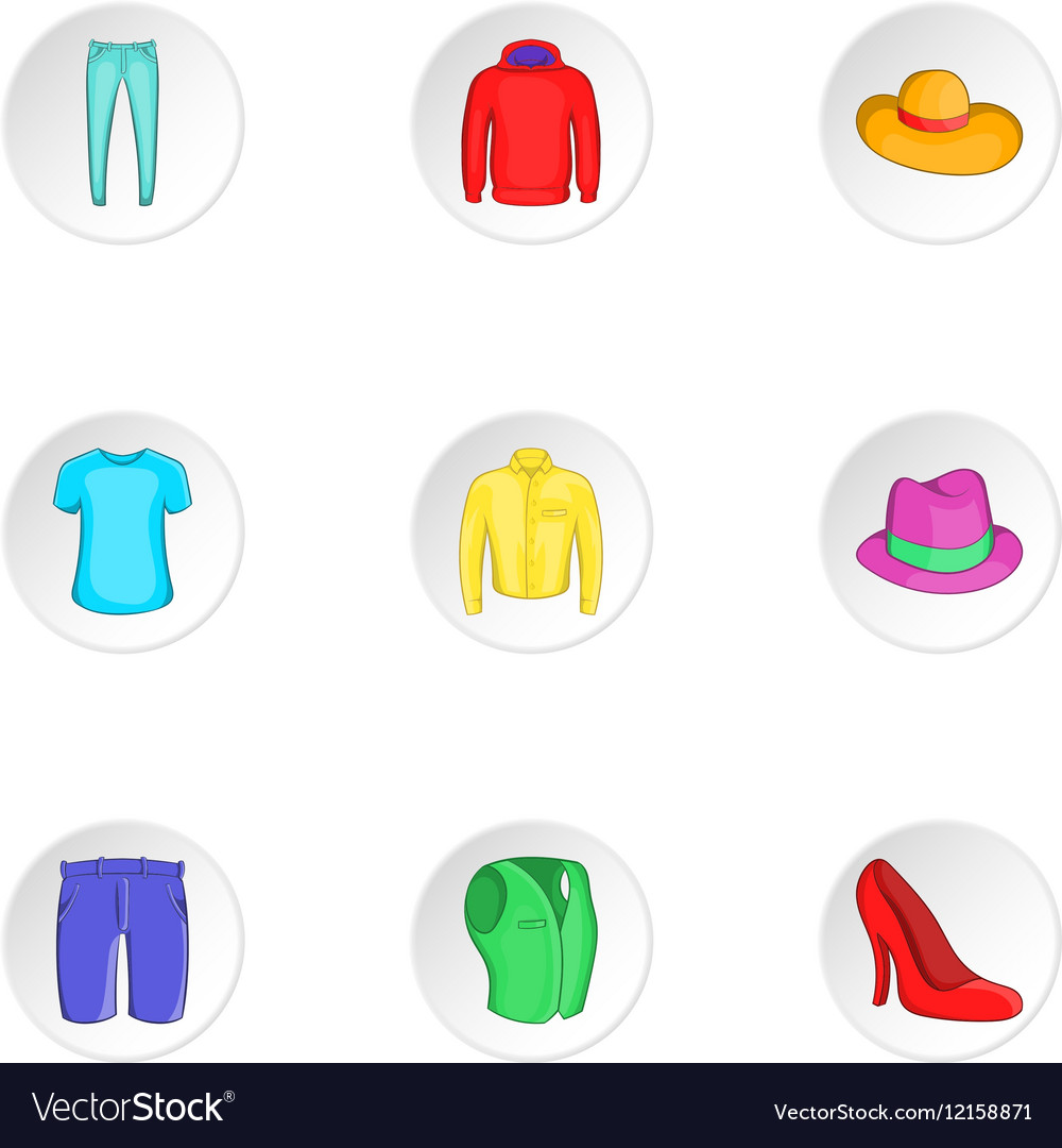 Outfits icons set cartoon style vector image