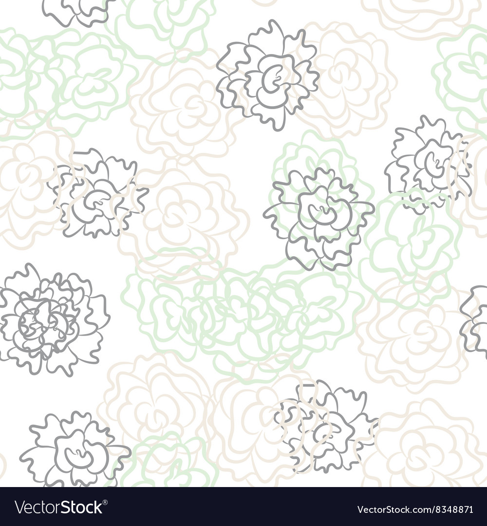 Romantic rose and peonies seamless pattern