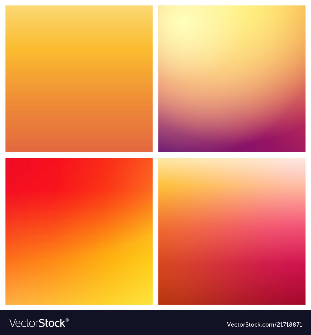 Set of gradient backgrounds in warm colors