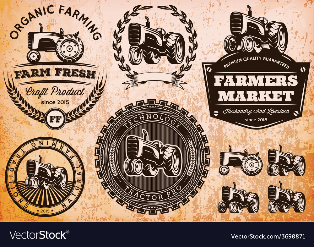 Set of labels with a tractor for livestock and
