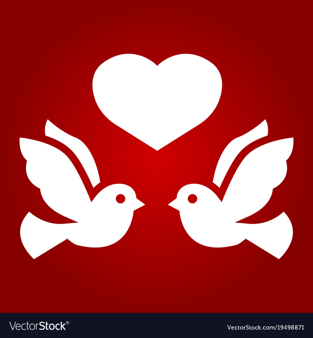 Wedding doves with heart glyph icon valentine day Vector Image