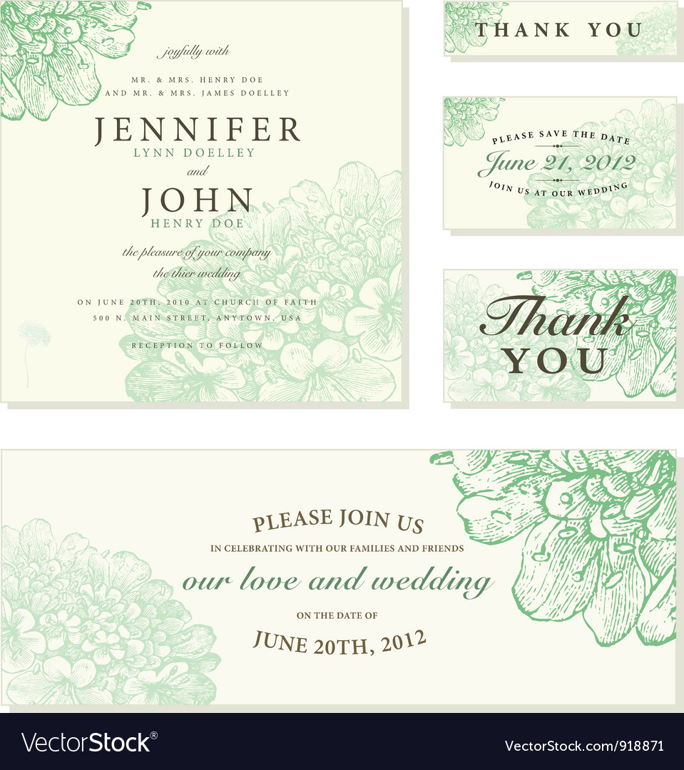 Wedding invite cards Royalty Free Vector Image