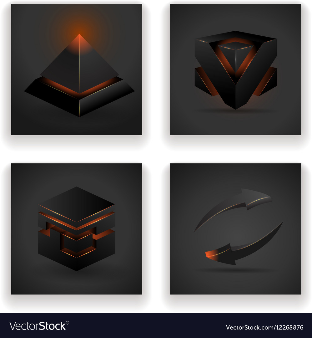 Abstract geometric glowing figures square pyramid vector image