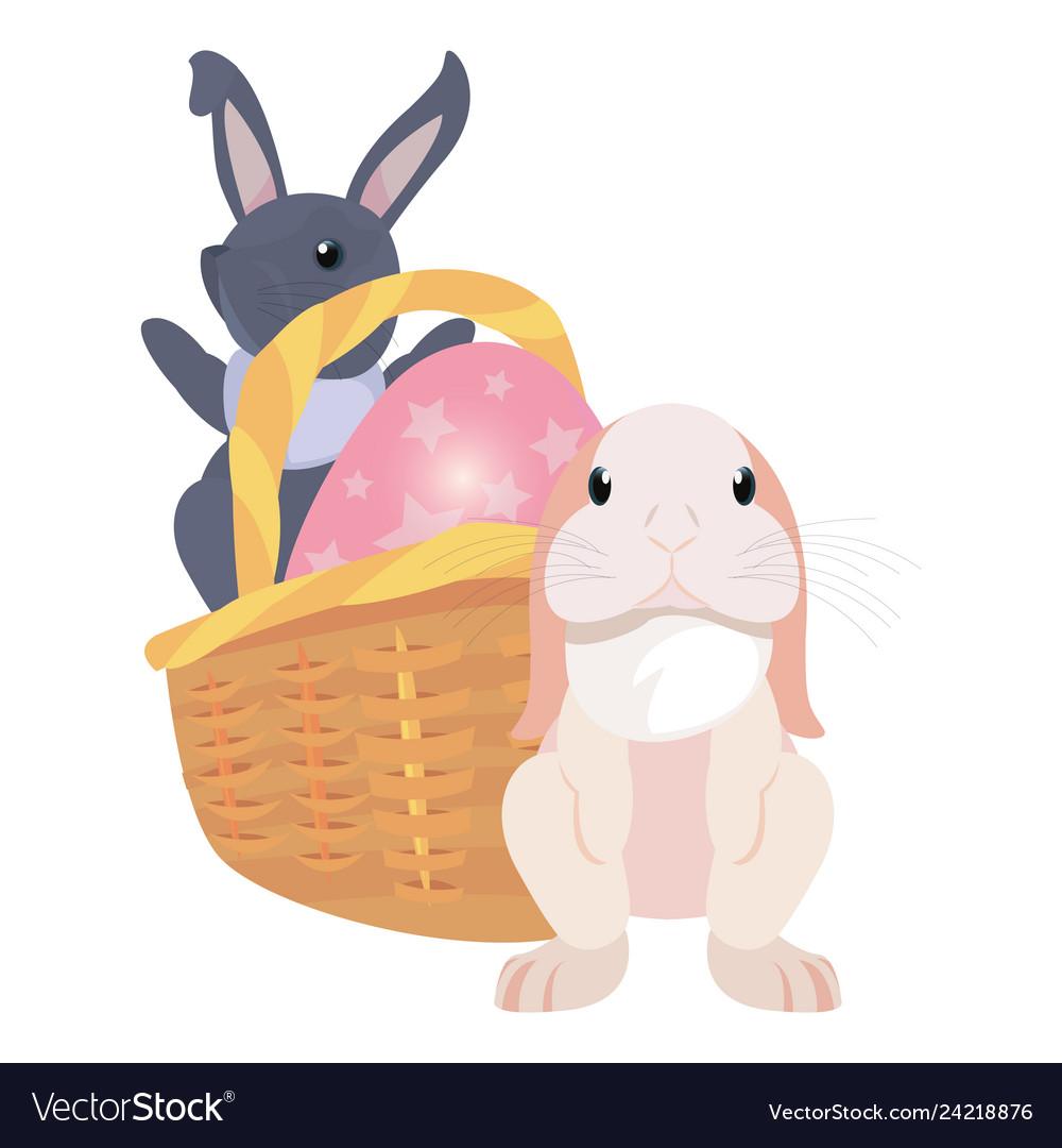 Bunnies basket egg easter